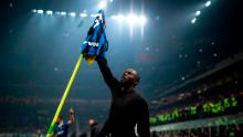 Inter Milan's forward Romelu Lukaku from Belgium  celebrates after scoring during  the Italian Serie A football match Inter Milan vs AC Milan on February 9, 2020 at the San Siro stadium in Milan. (Photo by MARCO BERTORELLO / AFP) (Photo by MARCO BERTORELLO/AFP via Getty Images)