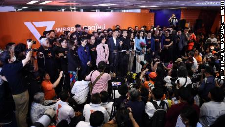 Thanathorn speaks at a press conference after the Constitutional Court ruled to dissolve the party.