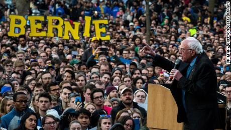 Sanders addresses supporters during a campaign rally on March 8, 2020 in Ann Arbor, Michigan.