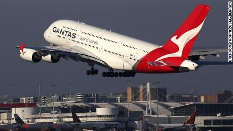 A Qantas A380 taking off at Sydney Airport in October last year.