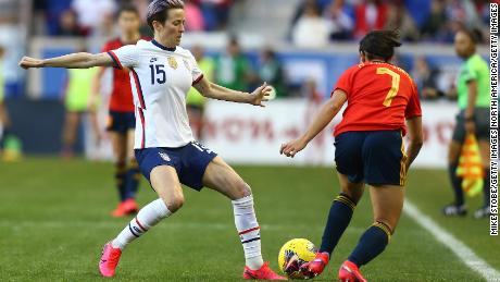 Marta Corredera goes past the USWNT's Megan Rapinoe during the She Believes Cup clash.