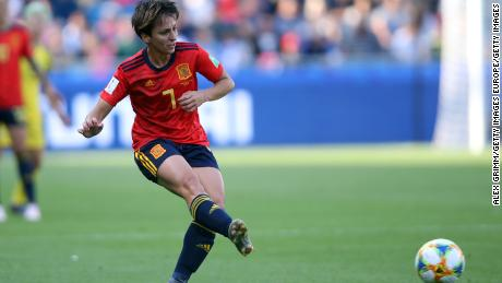 Marta Corredera playing for Spain's history making team at the 2019 Women's World Cup.