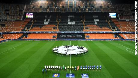 Valencia and Atalanta played their match in front of empty stands.