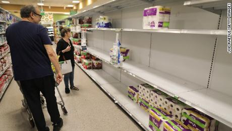 The toilet paper shelves were nearly empty in this Miami store last week as people stocked up during the coronavirus crisis. (Joe Raedle/Getty Images)