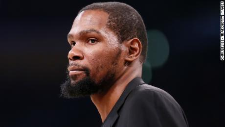 Kevin Durant looks on during a game at the Staples Center on March 10, 2020 in Los Angeles.