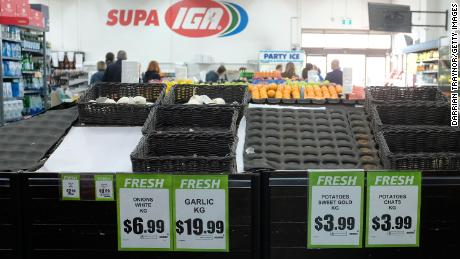 Grocery store shelves are seen with low stock  on March 16 in Melbourne, Australia.