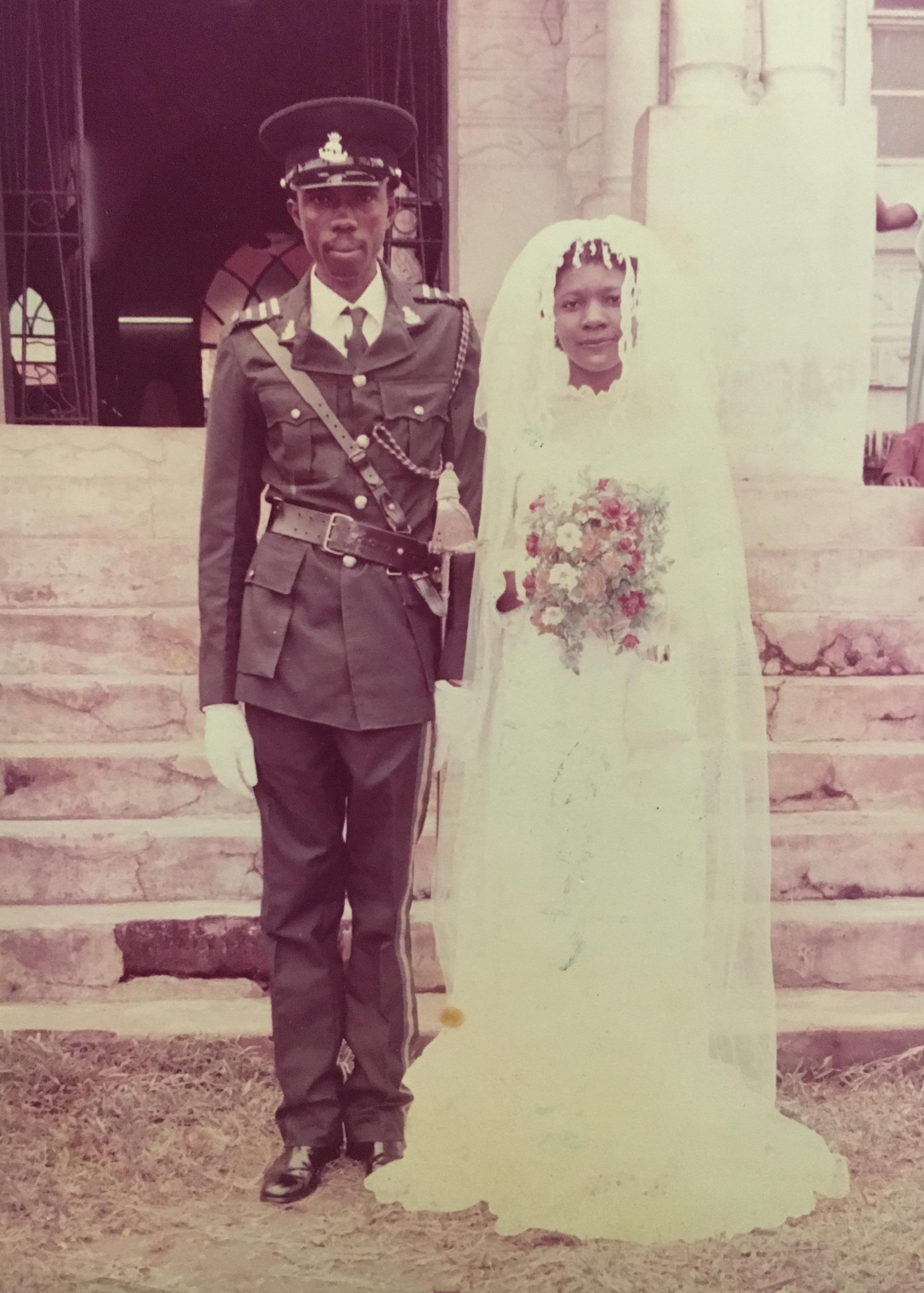 Nwakesi and her husband Obiora during their wedding in 1984