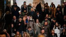 People have still been crowding the Moscow metro system.