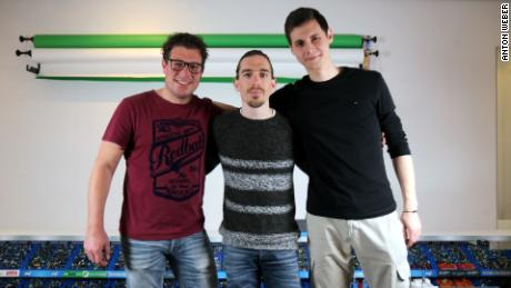 The central trio that makes up Jelle's Marble Races (left to right: Dion Bakker, Jelle Bakker and Anton Weber)