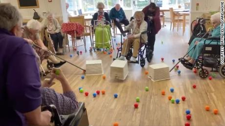 Care home residents play Hungry Hippos