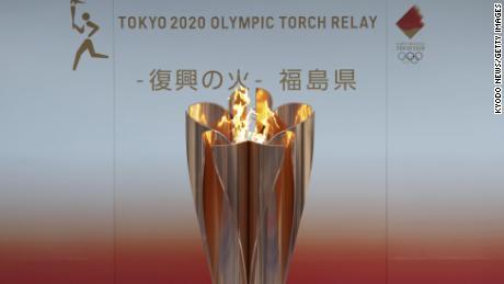 24 مارچ ، 2020 کو فوکوشیما میں اولمپک شعلہ نمائش کے لئے۔