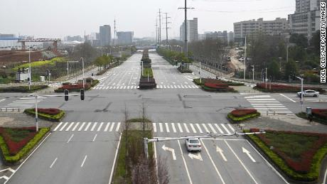 A general view shows a street in Wuhan on March 10.