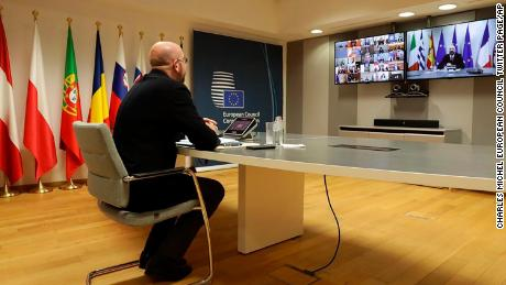 In this photo from his Twitter, the President of the European Council Charles Michel participates in a video call of world leaders from the Group of 20 and other international bodies and organizations, Thursday, March 26, 2020.