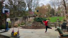 Bash's son has been practicing his basketball skills while cooped up at home.