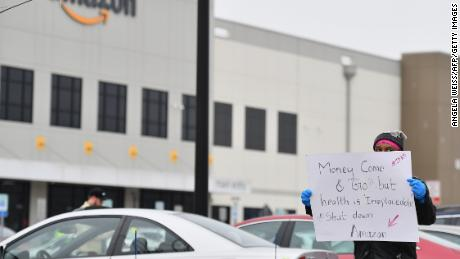 Workers at Amazon's Staten Island warehouse strike in demand that the facility be shut down and cleaned after one staffer tested positive for the coronavirus.