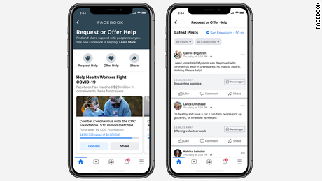 Facebook's new Community Help feature allows people to offer or request help during the coronavirus pandemic.