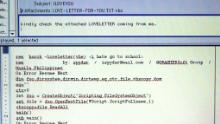A screenshot showing a copy of the ILOVEYOU virus email which spread around the world in May 2000.