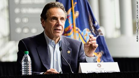 NY State Governor Andrew Cuomo is seen during a press conference at the COVID-19 field hospital site at the Javits Center in New York , NY, USA on March 30, 2020.
