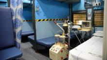 This handout photograph from Indian Railways show how old trains will be used as Covid-19 isolation ward.