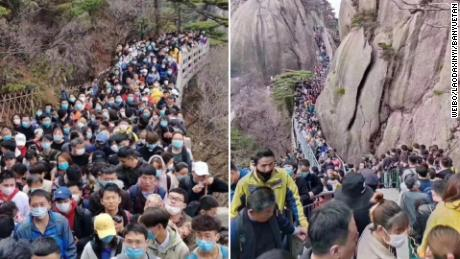 Thousands flock to Chinese tourist site as COVID-19 restrictions eased