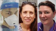 From left to right: Sean White, Rosana Josep Zaragoza and Laura Duffell are among the nurses on the frontline of this crisis.