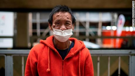 Lum Chai, 45, is seen during Impact HK's meal service on Tuesday, April 7.