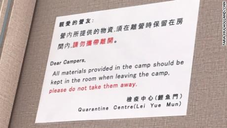 Instructions for quarantine camp inmates