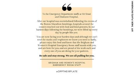 Emergency room staff from Brigham and Women's Hospital included a supportive note with their food donation to hospitals in New York.