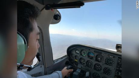 A view from the cockpit as TJ Kim flies medical supplies from a Maryland airfield to a critical hospital in Virginia.