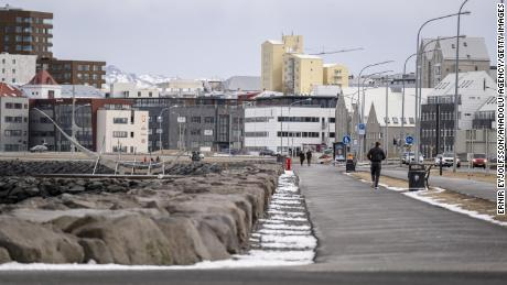 Saebraut road in the Icelandic capital, Reykjavik, on April 3, as a ban on gatherings of more than 20 people is in effect.