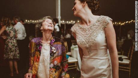 Jane Feld dances with her granddaughter Meredith Doubleday at her wedding in 2016.