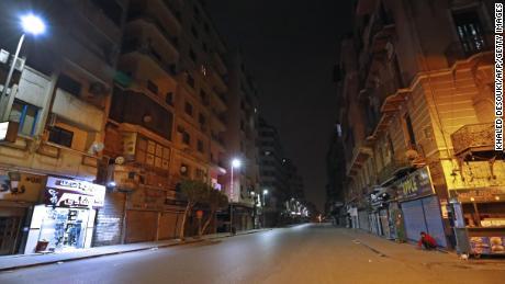 An empty street in Cairo during the coronavirus pandemic.
