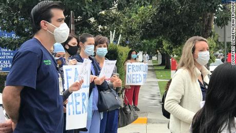 Outside of PSJHC, nurses hold a protest over the nurses suspended for refusing to enter coronavirus patient rooms without N95 masks.