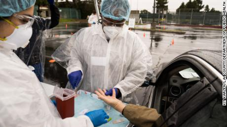 L.A. County Department of Public Health employees perform antibody testing.