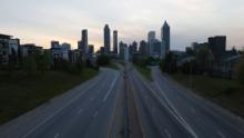 A view of an empty John Lewis Freedom Parkway into downtown Atlanta on April 4, 2020. A statewide shelter-in-place order for all residents went into effect on April 3.