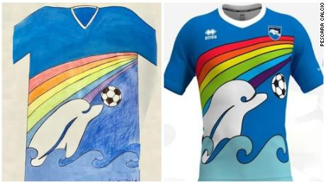 Luigi D'Agostino's winning design depicts a dolphin, Pescara's club symbol, playing in the sea with a soccer ball.