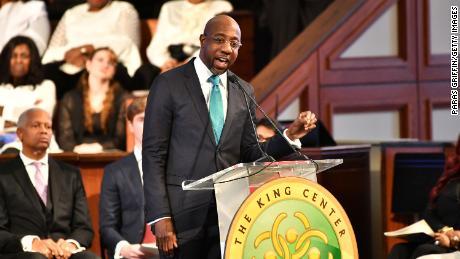 Raphael G. Warnock, Senior Pastor of Ebenezer Baptist Church, speaks during a Martin Luther King, Jr. commemorative service at Ebenezer Baptist Church on January 20, 2020 in Atlanta.