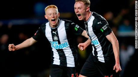 Newcastle United's Sean (right) and Matty Longstaff celebrate the opening goal of the FA Cup fourth round replay against Oxford United earlier this year.