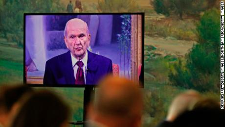 Members watch as Russell M. Nelson President of the Church of Jesus Christ of Latter -Day Saints, makes an announcement in January 2017. Nelson said this April that the Church will open a temple in Shanghai.