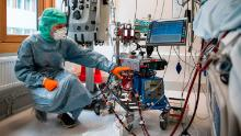 A nurse checks on a Covid-19 patient in the Extracorporeal Membrane Oxygenation (ECMO) department of the Karolinska Hospital in Solna, near Stockholm, Sweden, on April 19.