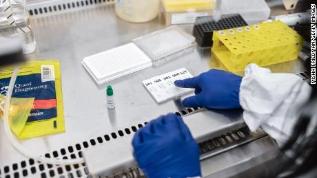 Mirimus, Inc. lab scientists work to validate rapid IgM/IgG antibody tests of COVID-19 samples from recovered patients on April 10, 2020 in New York.