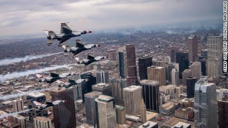 Blue Angels and Thunderbirds will fly over New York and other cities to salute first responders