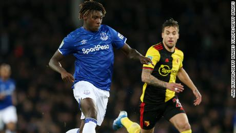 Kean runs with the ball during the Carabao Cup match against Watford.