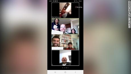 Image from a zoom call between Suri Nathwani (bottom) and his relatives in the US and the UK as he recovered from coronavirus.