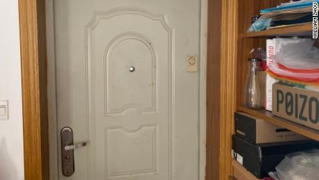 William Zhou said the camera was installed on the cabinet wall next to his front door.