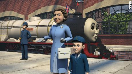 """Image taken from """"Thomas & Friends: The Royal Engine,"""" featuring animations of the Queen and Prince Charles."""