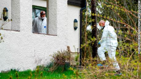 Police search the Hagens' home near Oslo, after Tom Hagen's arrest.