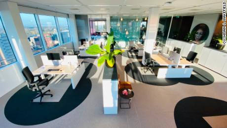 """Commercial real estate firm Cushman & Wakefield has built a prototype called the """"Six Feet Office,"""" which encourages workers to continue social distancing when they return to the office."""