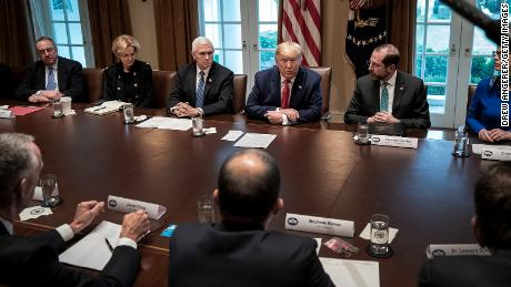 President Donald Trump leads a meeting with the White House Coronavirus Task Force and pharmaceutical executives in the Cabinet Room of the White House on March 2.