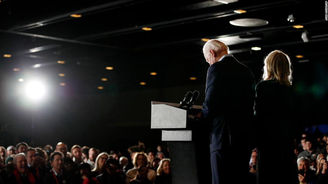 Biden speaks at a caucus-night rally in Des Moines, Iowa, in February 2020. He finished a disappointing fourth.